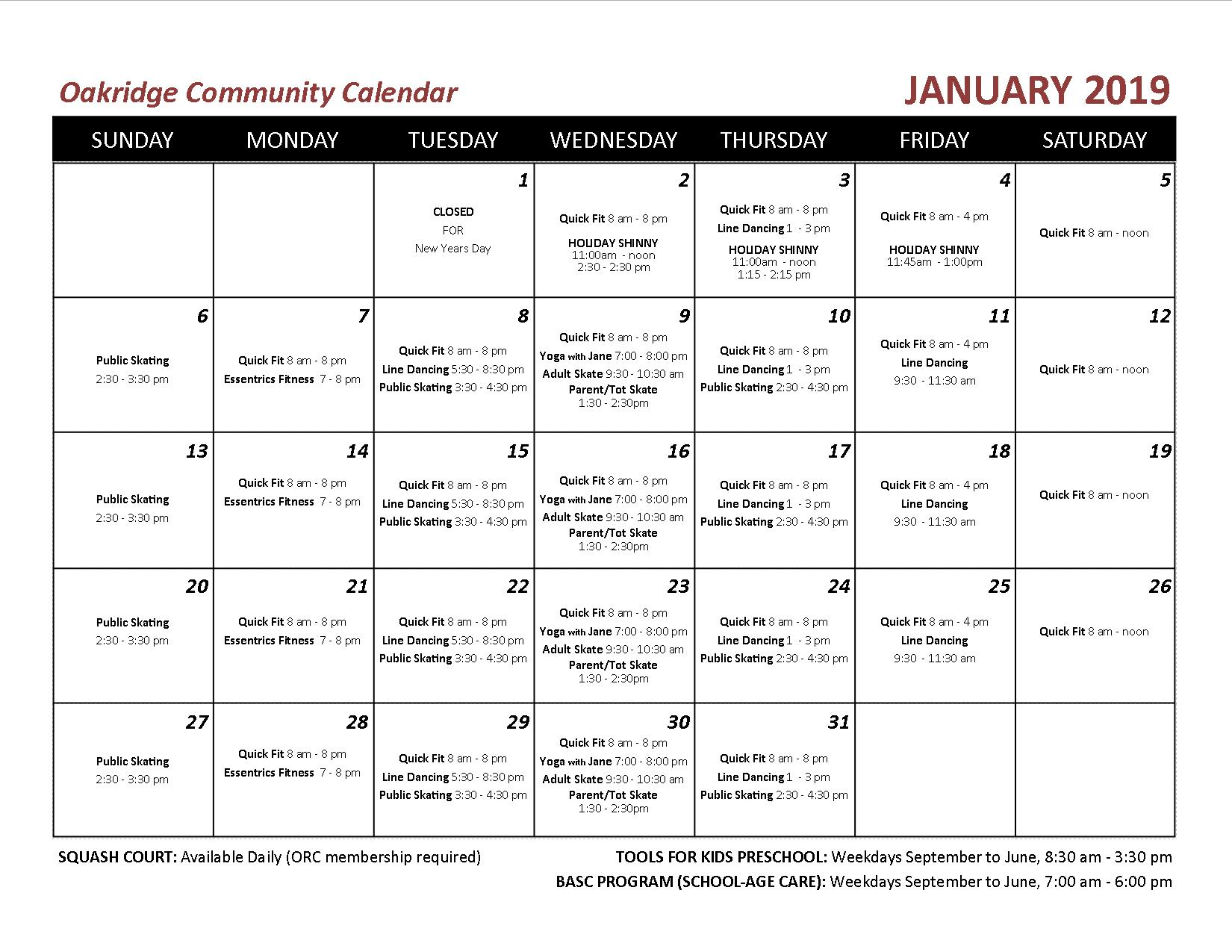 2019 01 OCA echo calendar