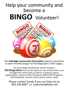 Bingo Volunteers for Oakridge community