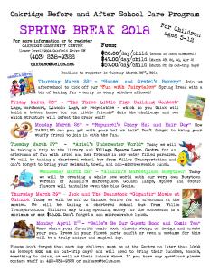 Spring Break Camp Information at Oakridge Community Center