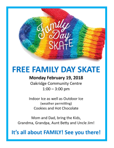 Free Family Day Skate at Oakridge Community Center