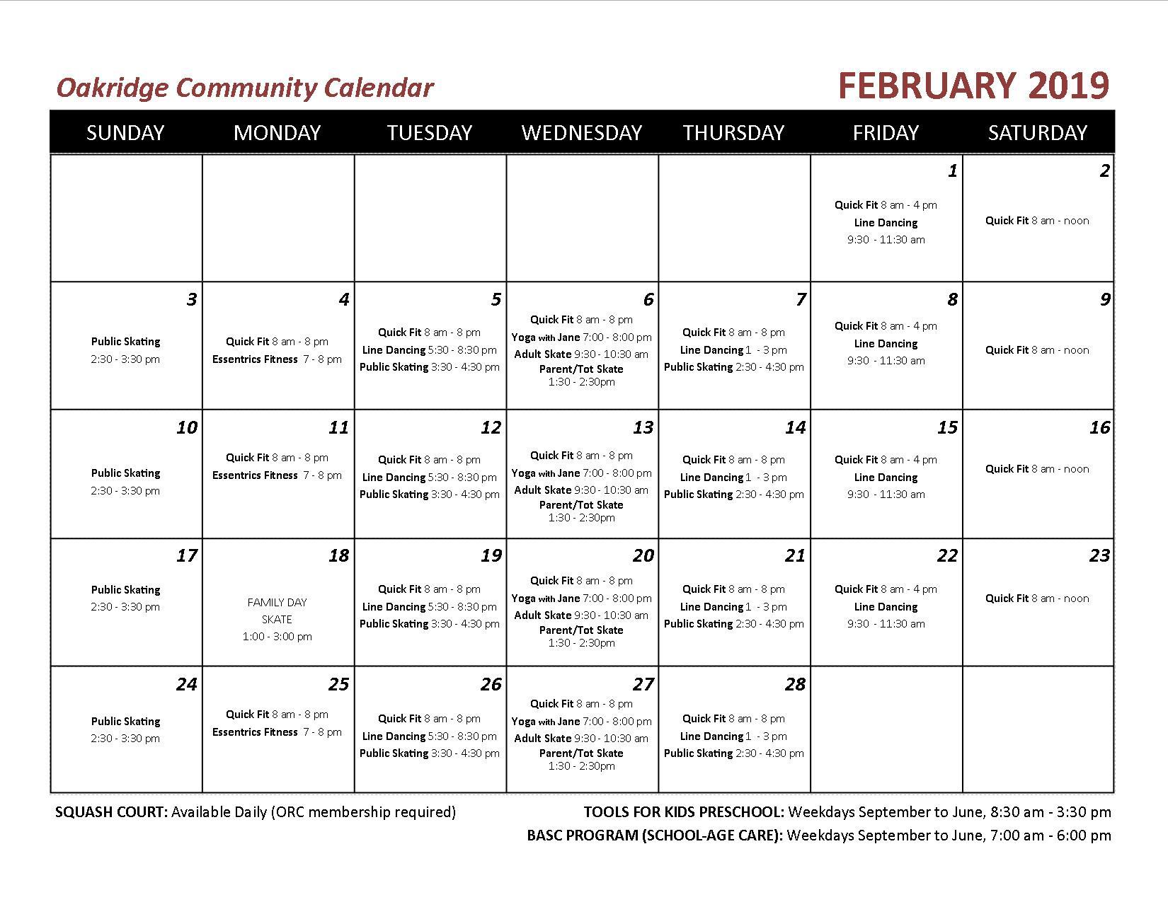 2019 02 OCA echo calendar