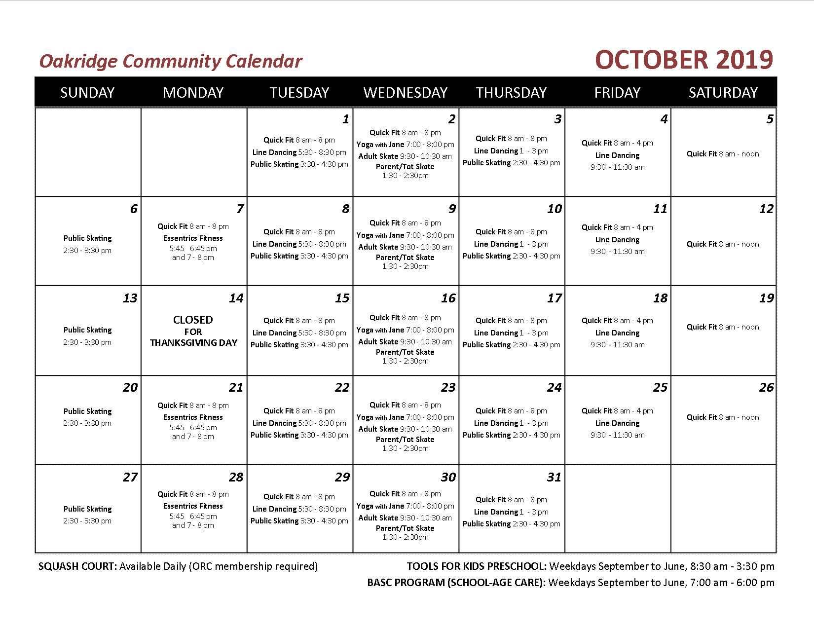 2019 10 OCA echo calendar