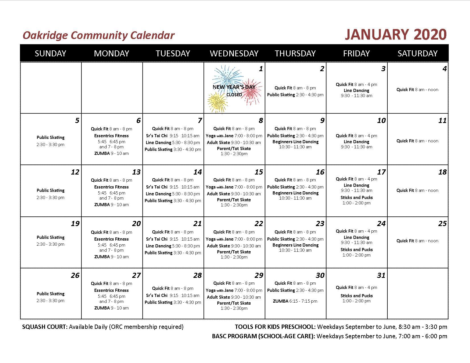 2020 01 OCA echo calendar