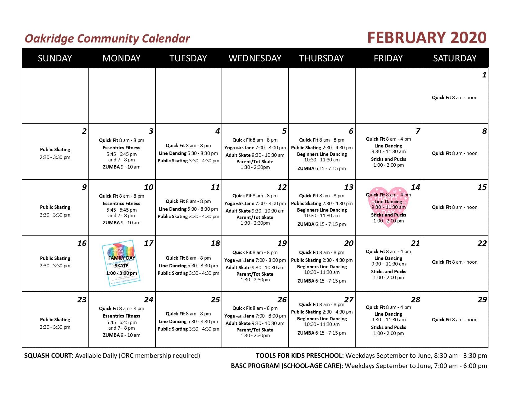 2020 02 OCA echo calendar
