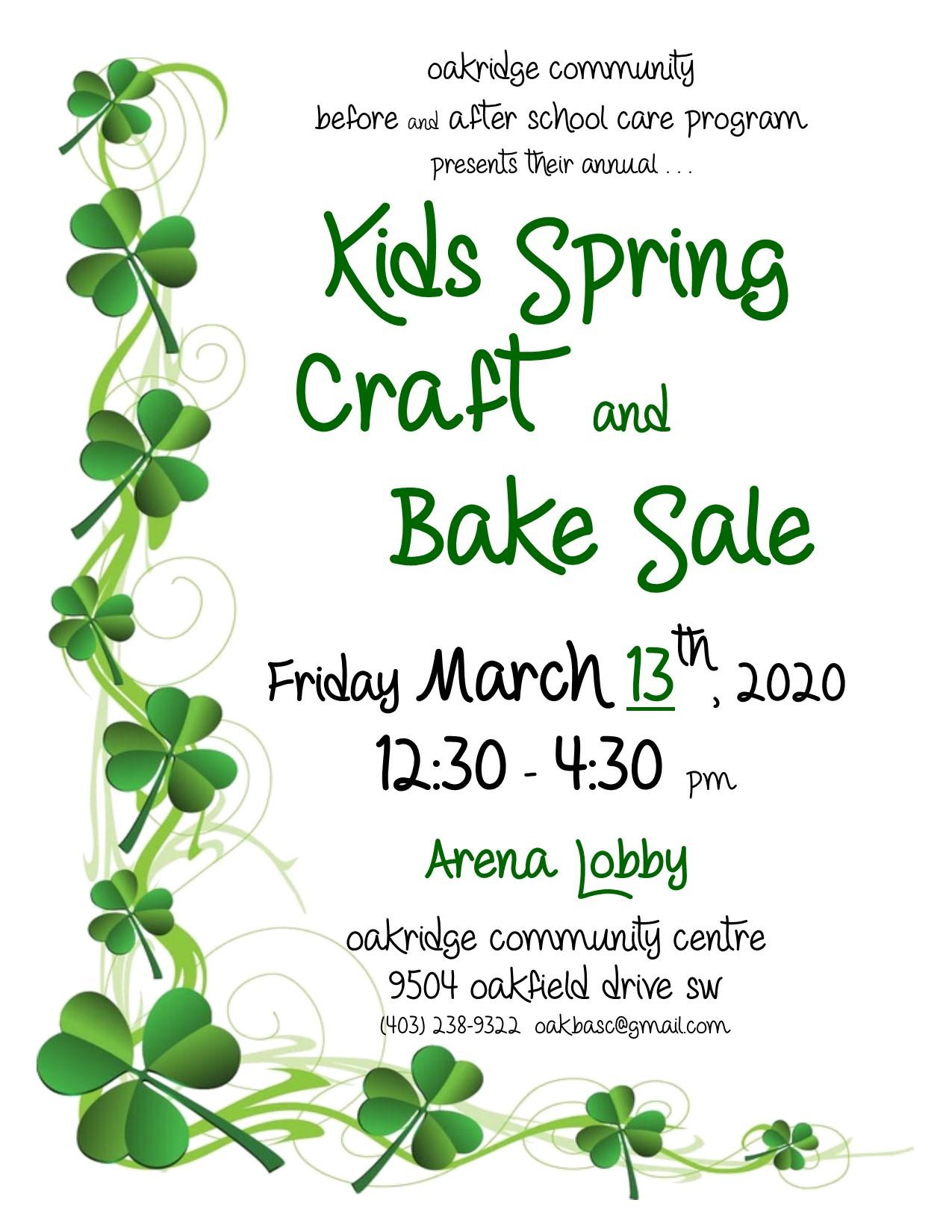 2020 kids spring craft sale poster