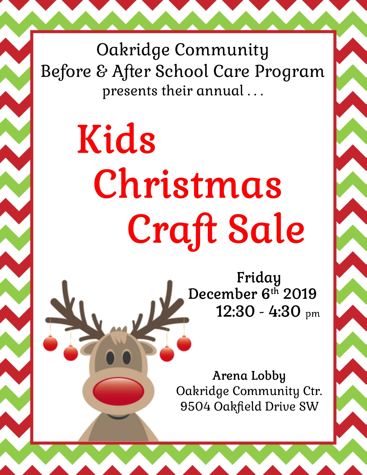 2019 kids christmas craft sale poster
